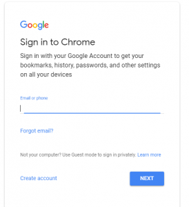 login to chrome