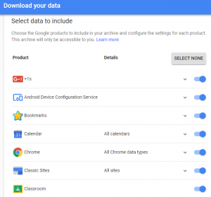 chrome select a data to backup